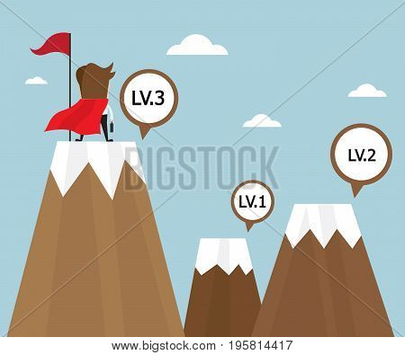 businessman success on top of mountain last level with red flag business concept vector illustration
