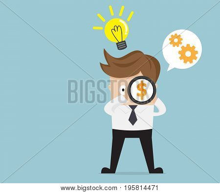 businessman use telescope finding money with bulb idea and cog gear wheel vector illustration