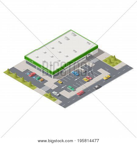 Element infographics representing a supermarket with parking located on a street vector graphic illustration design