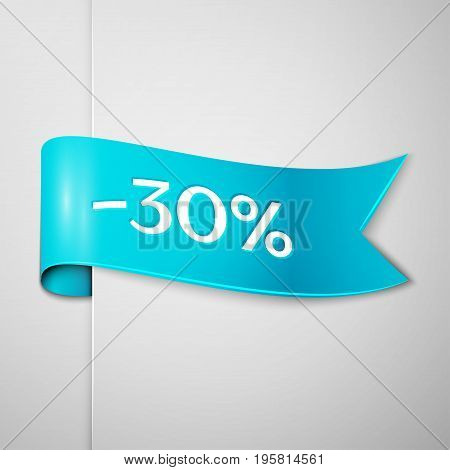 Realistic Cyan ribbon with text thirty percent for discount on grey background. Colorful realistic sticker, banner for sale, shopping, market, business theme. Vector template for your design