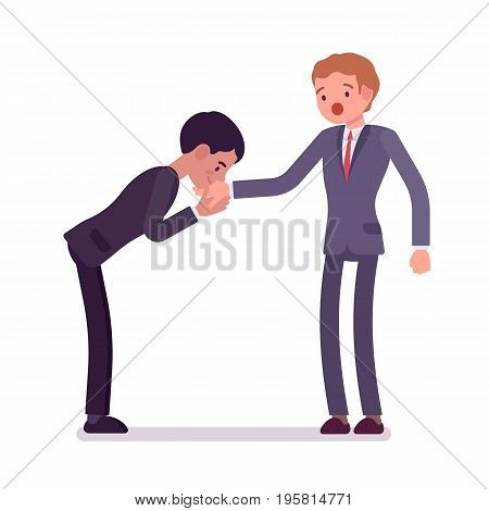 Business hand kiss gesture. Partner in formal wear expressing courtesy, politeness, respect and admiration. Office etiquette concept. Vector flat style cartoon illustration, isolated, white background