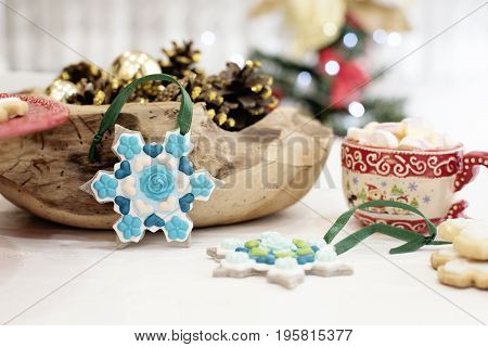 Christmas Cookies Shaped In Snowflakes And Golden Cones. Hot Chocolate With Marshmallow Candies. Whi