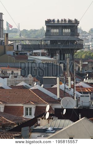 View of the Santa Justa elevator in Lisbon Portugal