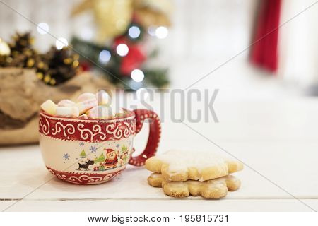 Hot Chocolate With Marshmallow Candies. Christmas Cookies Shaped In Snowflakes,  Golden Cones And Ch