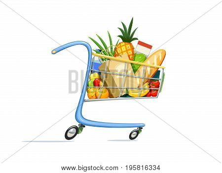 Shopping cart with foodstuff. Supermarket equipment for buying products. Shop trolley. Isolated white background. Vector illustration.