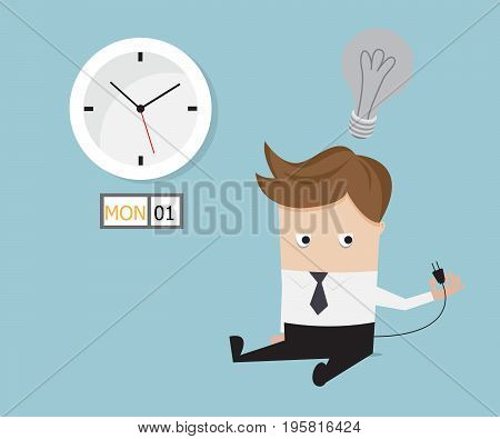 businessman sitting tired and no have idea on monday vector illustration