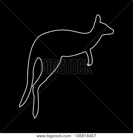 Kangaroo White Color Path  Icon .