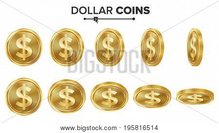 Dollar 3D Gold Coins Vector Set. Realistic Illustration. Flip Different Angles. Money Front Side. Investment Concept. Finance Coin Icons, Sign, Success Banking Cash Symbol. Currency Isolated