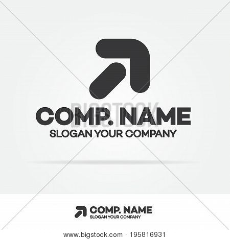 Progress logo with arrow up black color isolated on white background for growing success business company. Modern glossy growth graph symbol. Vector Illustration