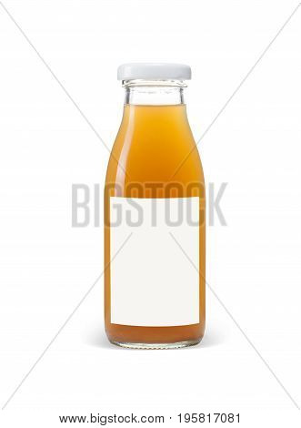 Glass bottle of apple juice with blank blue label isolated on white