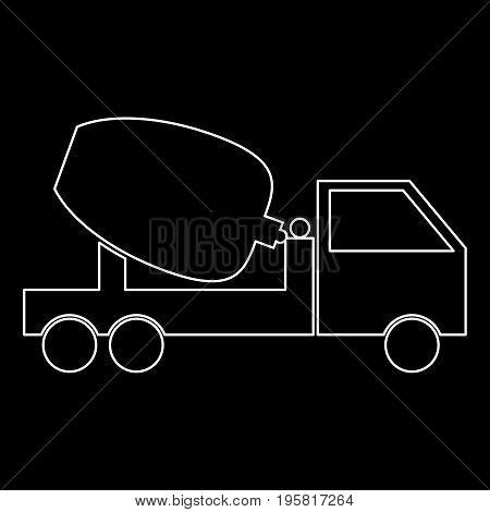 Cement Mixers Truck White Color Path  Icon .