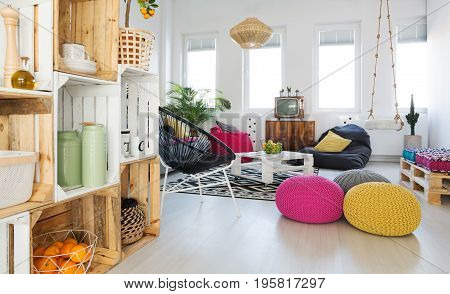Living Room With Crate Shelf