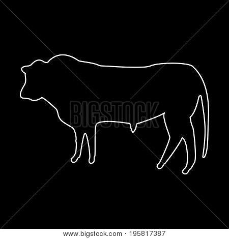 Bull White Color Path  Icon .