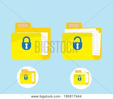 folder locked and unlocked icon logo vector illustration