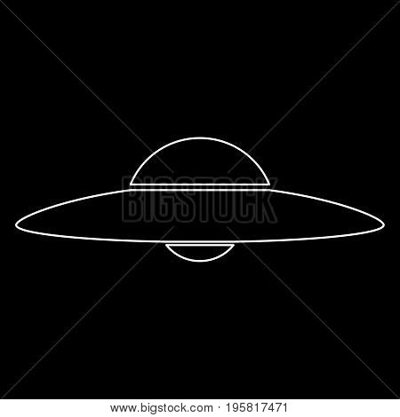 Ufo. Flying Saucer White Color Path  Icon .