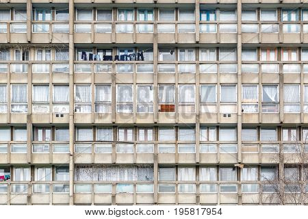 Dilapidated Council Flat Housing Block, Robin Hood Gardens