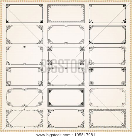 Decorative vintage frames borders backgrounds rectangle 2x1 proportions set 1 vector