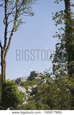 Moorish Castle seen from the south area of the Sintra sierra Portugal