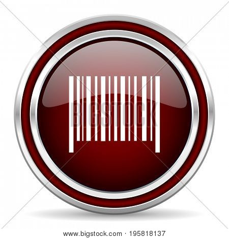 Barcode red glossy icon. Chrome border round web button. Silver metallic pushbutton.