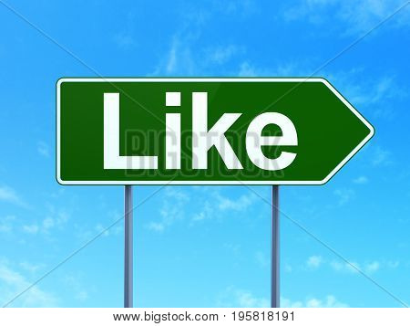Social media concept: Like on green road highway sign, clear blue sky background, 3D rendering