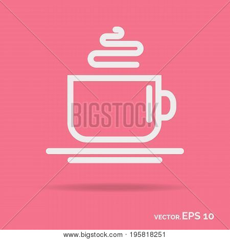 Cup outline icon white color isolated on background. Vector Illustration
