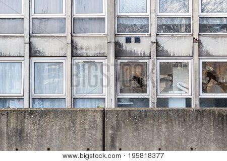 Vandalism, Broken Windows Of A Dilapidated Council Flat Housing Block,