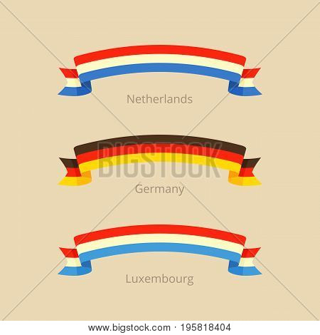Ribbon With Flag Of Netherlands, Germany And Luxembourg.