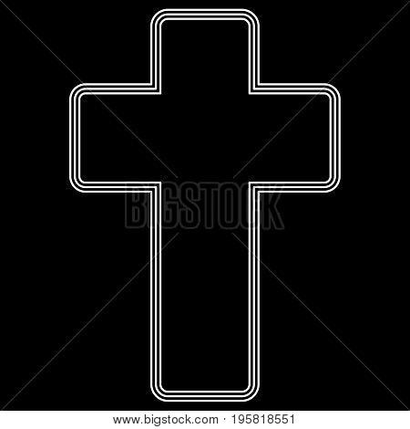 Church Cross White Color Path  Icon .