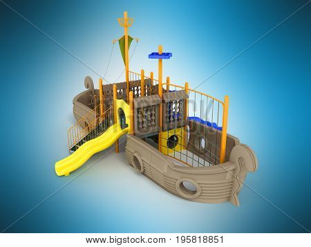 Playground For Children Ship Light Brown Pale Yellow Yellow 3D Rendering On Blue Background