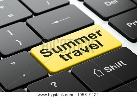 Tourism concept: computer keyboard with word Summer Travel, selected focus on enter button background, 3D rendering