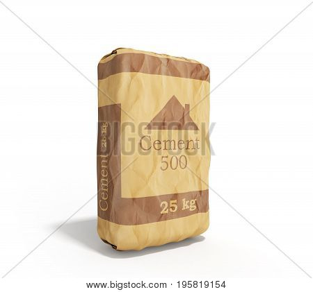 Cement Bag On White Background 3D Rendering Image