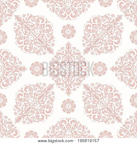 Orient vector classic pink pattern. Seamless abstract background with repeating elements. Orient background