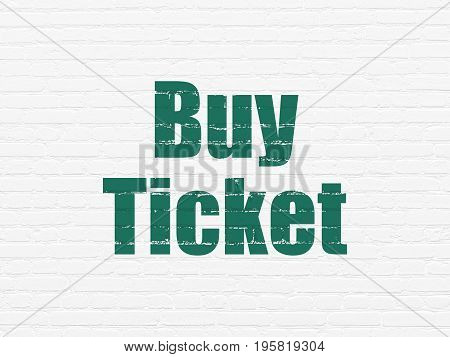 Tourism concept: Painted green text Buy Ticket on White Brick wall background