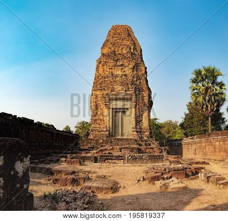 The Pre Rup temple is a Hindu temple in Angkor Wat complex, Siem Reap, Cambodia. It was dedicated to the Hindu god Shiva. Ancient Khmer architecture famous Cambodian landmark, World Heritage
