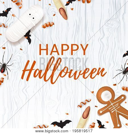 Halloween background with sweets. Top view on spiders, paper bats and confetti on wooden texture. Vector illustration with cookies in form of skeleton gingerbread man. Cream cake in form of mummy.