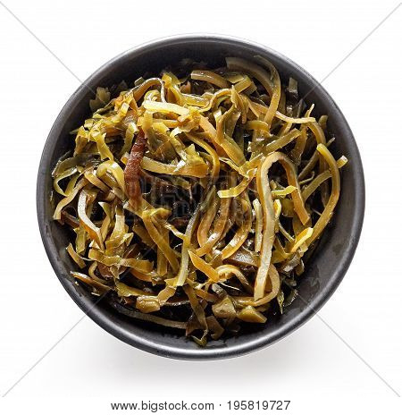Bowl Of Laminaria Seaweed Isolated On White, From Above