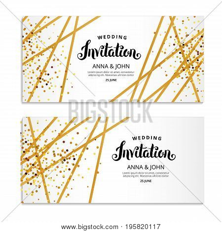 Gold Line Invitation. You are invited, Hand drawing lettering. gold glitter invitation. Gold sparkles Print inscription, ribbon, birthday party, congratulation, greeting card, Wedding decorations