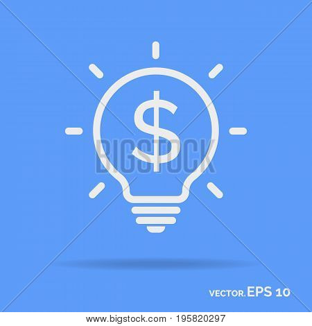 Money idea outline icon white color isolated on cyan background. Vector Illustration