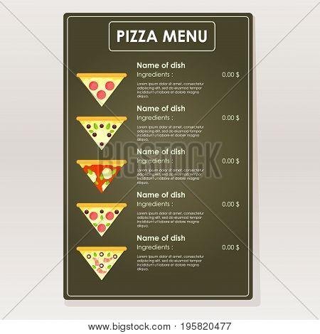 Design sample pizza menu for cafes restaurants bars. Triangular slice on a dark background vector illustration.