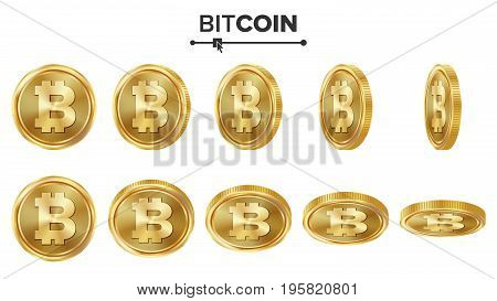 Bitcoin 3D Gold Coins Vector Set. Realistic. Flip Different Angles. Digital Currency Money. Investment Concept. Cryptography Finance Coin Icons, Sign. Fintech Blockchain. Currency Isolated