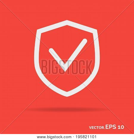 Shield outline icon white color isolated on purple background. Vector Illustration