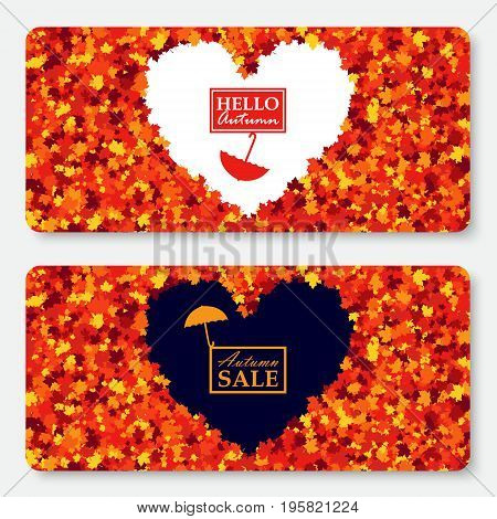 Autumn sale gift card layout template with heart in center. Shopping certificate vector illustration with scattered maple leaves. All objects isolated