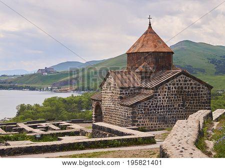 Beautiful armenian monastery Sevanavank located near a lake Sevan
