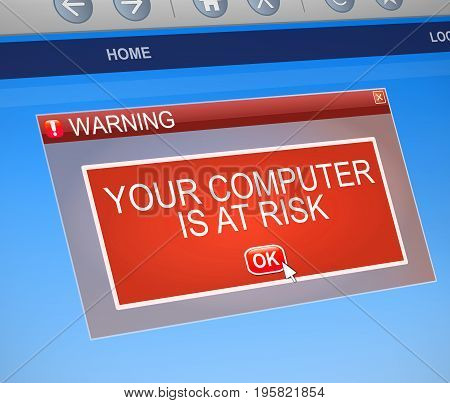Computer At Risk Concept.