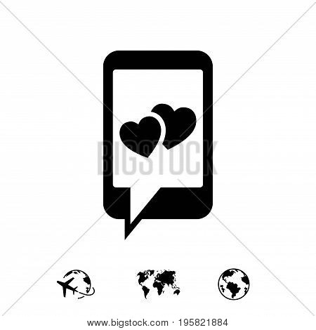 phone with hearts on the screen icon stock vector illustration flat design