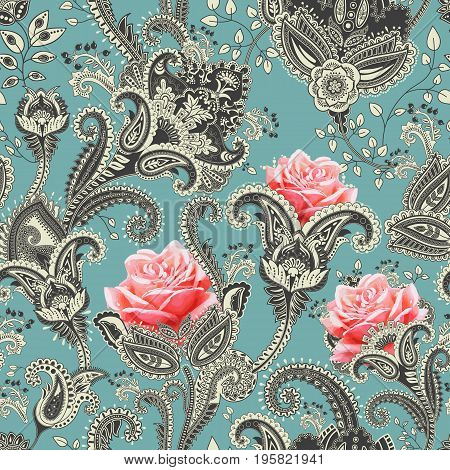 Vector seamless pattern. Indian floral backdrop. Paisley. Fashion style. Design for fabric, textile and web