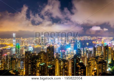 Blur Hong kong cityscape in the night for use as background
