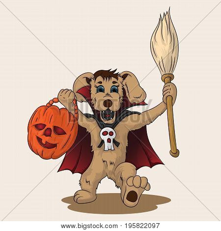 Vector illustration puppy in a suit of dracula with a broom and pumpkin in hands