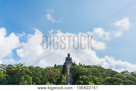 Hongkong China - Jun 11 2017: Tian tan buddha of po lin monastery is the famous place in lantau island. Many tourists sightseeing and taking a picture