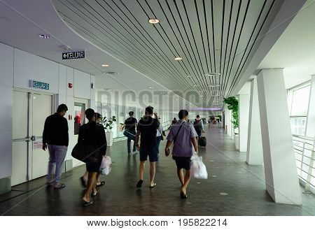 People Walking At Klia2 Airport In Malaysia